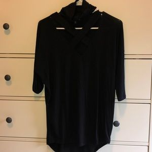 Black cutout neckline shirt